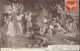 Carte postale : EN PROVENCE. - La Farandole, par Valère Bernard. 1er quart 20e siècle Musée des Civilisations de l'Europe et de la Méditerranée.